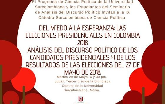 Foro sobre análisis de las elecciones presidenciales en Colombia, en la Universidad Surcolombiana