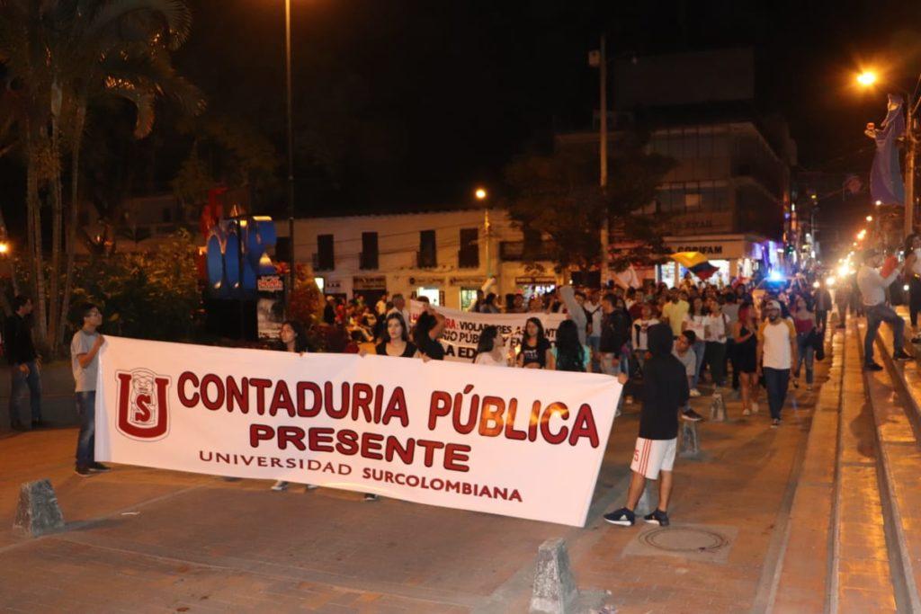 Inesperada movilización para los estudiantes de la Usco y la Uniamazonia en Pitalito